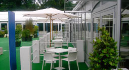 Hospitality marquee with patio and fencing