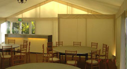 Baffle screening for privacy between marquees or restaurant area and kitchen area